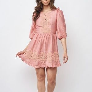 Hello Molly Embroidered Puff Sleeve Dress - Coral